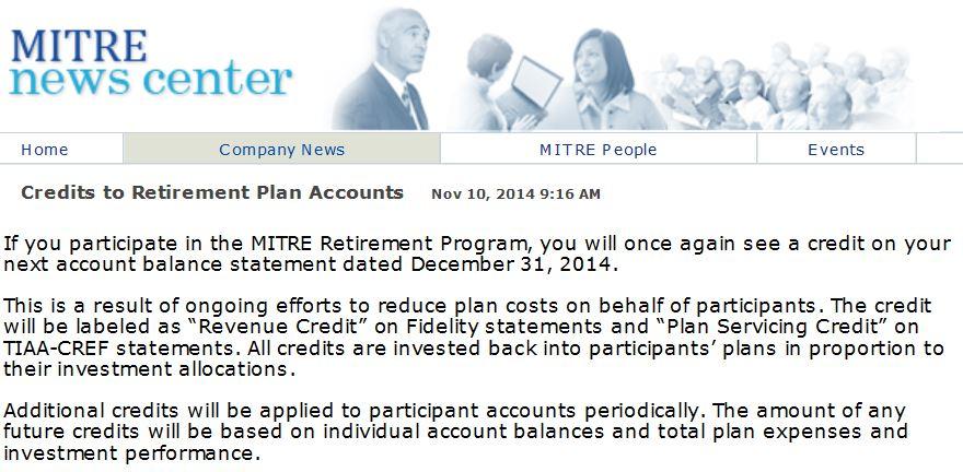 Additional Credits To Retirement Programs Accounts ...